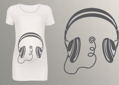 nadruki na koszulki ciążowe słuchawki muzyczne