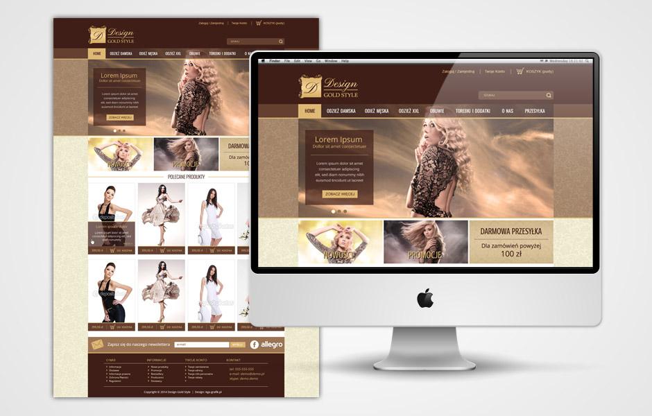 Sklep odzie owy design gold style aga grafik freelancer Home design sklep online